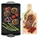 Chefman w/Non-Stick Cooking Surface & Adjustable Temperature Knob from Warm to Sear for Customized BBQ, Dishwasher Safe Removable Water Tray, Electric Smokeless Grill-Black
